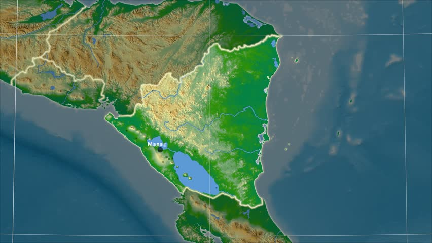 Zoomedin View Of A Nicaragua Outline With Perspective Lines - Physical map of nicaragua