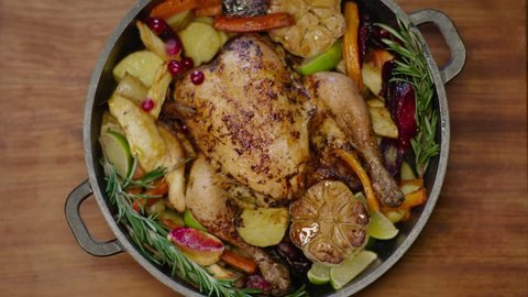 Red cranberries on roasted chicken