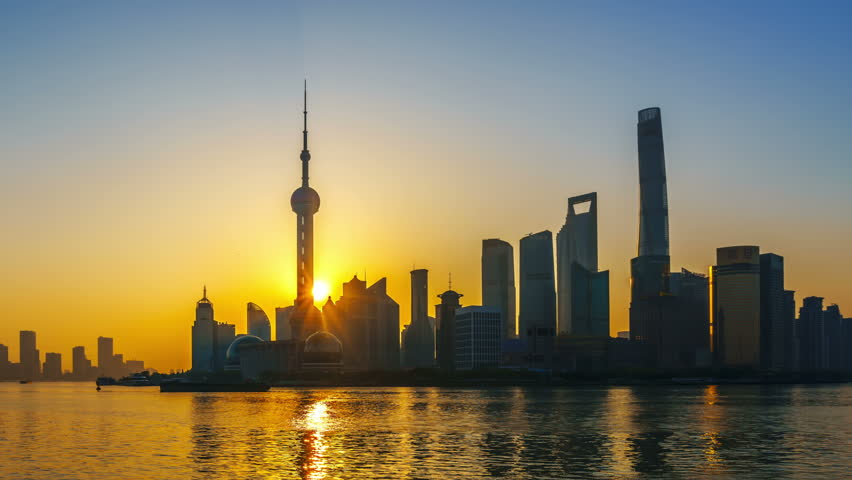 "Hyper-move: Shanghai at Sunrise.  Pudong, Huangpu River, China. ->>> Please search more similar: ""ShanghaiSkyline""  