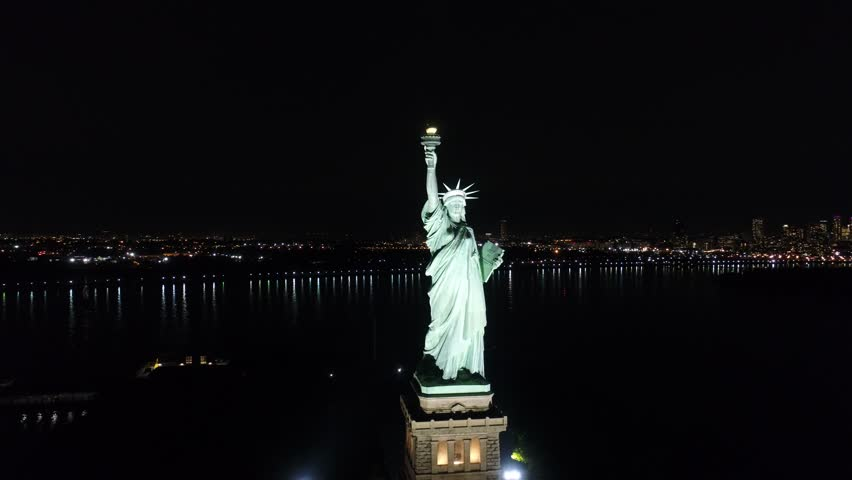Aerial View of Statue of Liberty New York City at Night | Shutterstock HD Video #30692245