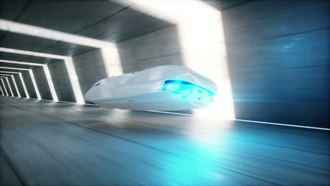 futuristic flying car with woman fast driving in sci fi tunnel, coridor. Concept of future. Realistic 4k animation.