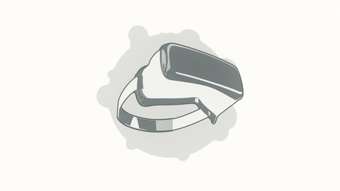 Animation rotation helmet virtual reality in flat icon style on colorful background with circle with flying particles. Line art style. Animation of seamless loop.