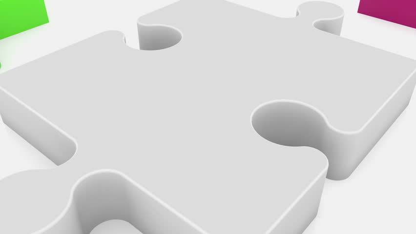 Randomly puzzle pieces in various colors on white  | Shutterstock HD Video #30705310