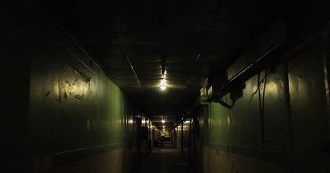 Old apartment building,long dark hallway 4k