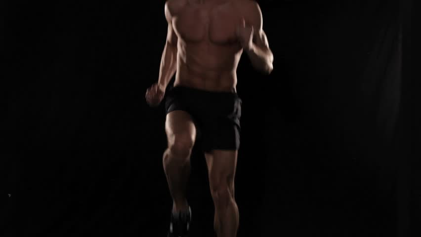 Front and side of man running in place
