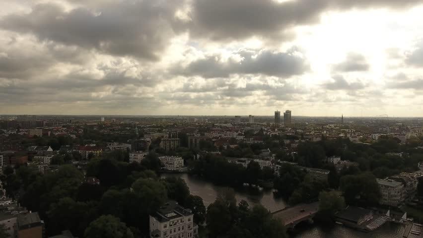 Professional Drone Flight Above Hamburg 4k | Shutterstock HD Video #30743110