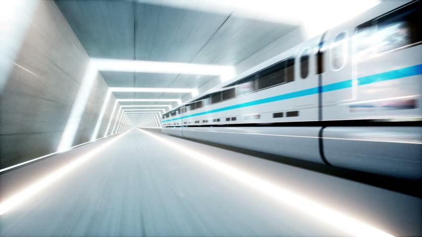 Futuristic modern train, monorail fast driving in sci fi tunnel, coridor. Concept of future. Realistic 4k animation. | Shutterstock HD Video #30763240