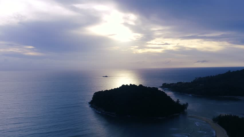 Aerial : Forward Drone shooting of infinite sea in Phuket Thailand, The sky and sea like blue color so beautiful nature skyline at sunset view small island, tropical forest and mythical scenery | Shutterstock HD Video #30774070