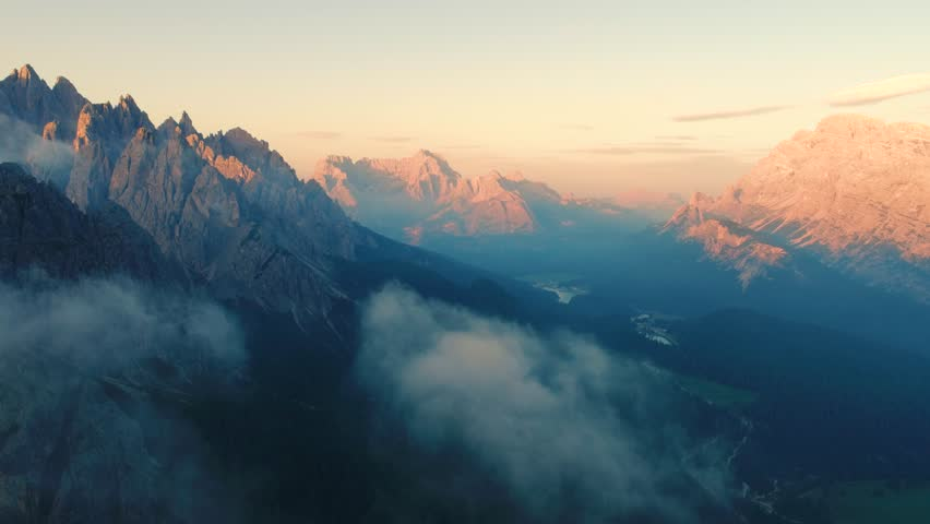 National Nature Park Tre Cime In the Dolomites Alps. Beautiful nature of Italy. Aerial FPV drone flights at sunset | Shutterstock HD Video #30776200