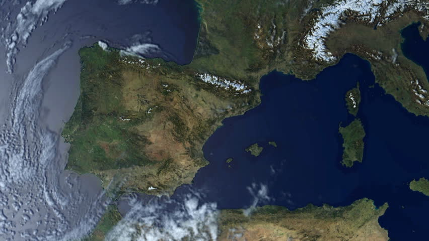 View From Satellite Flying Over Southern Europe Stock Footage - Photos from satellite