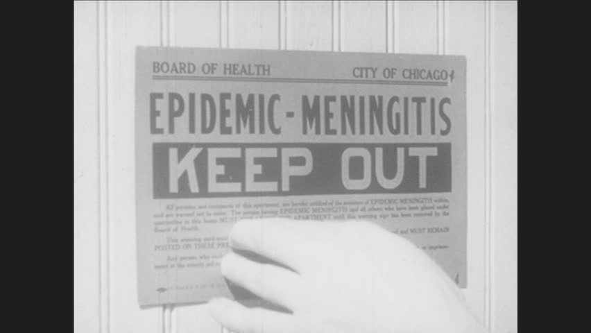 1940s: Man hangs sign, Diphtheria Keep Out. Man hangs sign, Whooping Cough Keep Out. Sign reads Epidemic - Meningitis Keep Out. Sign reads Quarantine Keep Out. Pharmacist grabs bottle from shelf.