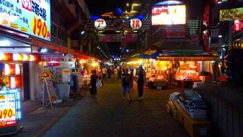 Tokyo, Japan - September 11, 2017 :tracking shot of Ameya-Yokocho(AmeYoko) Market at night.Ameyoko is a famous market street near the Ueno station,Tokyo.