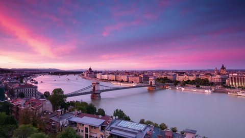 budapest from above city skyline timelapse from day to night aerial view