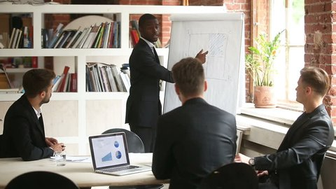 African-american businessman giving presentation to caucasian partners with flipchart, leader explaining team new project plan on whiteboard, startupper making offer to investors, business coaching