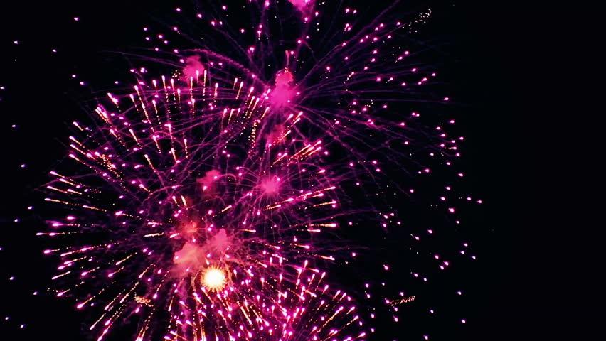beautiful fireworks show in the night sky hd