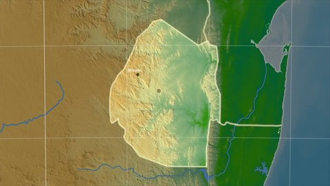 The Swaziland area map in the Azimuthal Equidistant projection. Layers of main cities, capital, administrative borders and graticule. Colored physical map