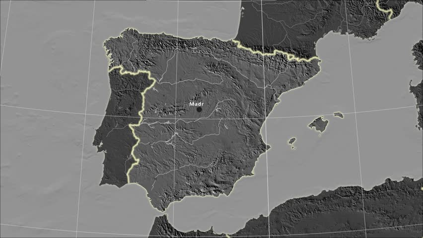 The Spain area map in the Azimuthal Equidistant projection. Layers of main cities, capital, administrative borders and graticule. Elevation & bathymetry - grayscale contrasted