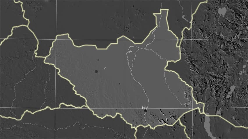 The South Sudan area map in the Azimuthal Equidistant projection. Layers of main cities, capital, administrative borders and graticule. Elevation & bathymetry - grayscale contrasted