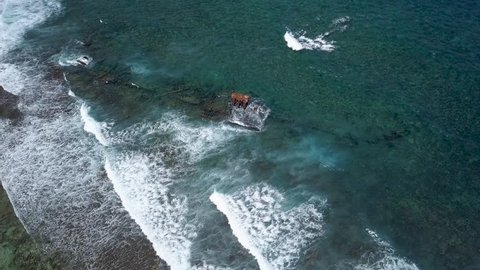 Aerial view of the shipwreck of the Ridgefield on the reef off the east end of Grand Cayman in the Caribbean