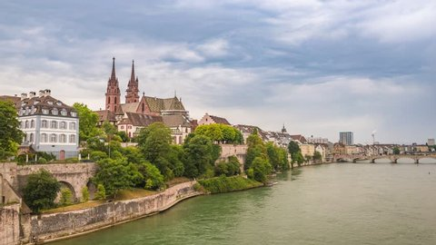 Basel city skyline timelapse and Rhine River, Basel, Switzerland, 4K Time lapse