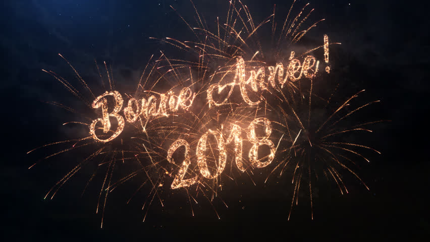 2018 happy new year greeting text in russian with particles and 2018 happy new year greeting text in french with particles and sparks on black night sky m4hsunfo Image collections