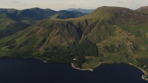 The Lake District's northern fells along the banks of Lake Buttermere.