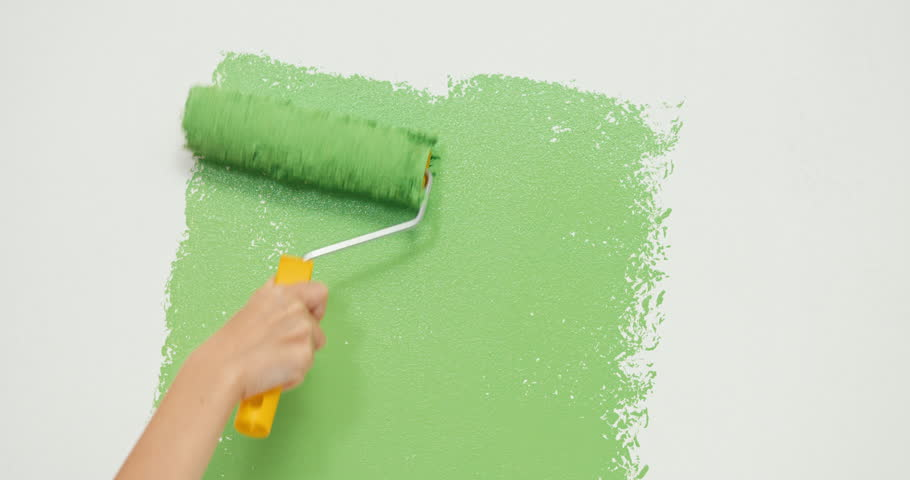 Hand painting using paint roller