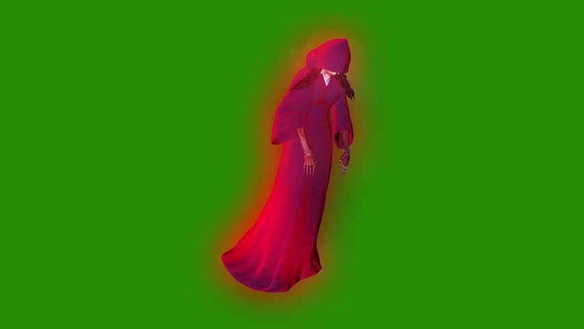 Ghost Phantom Entity Witch Flight cycle Green Screen 3D Rendering Animation