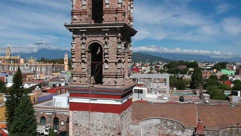 Cholula Mexico Church in Puebla aerial Footage