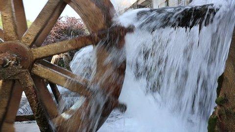 Working watermill wheel with falling water in the village Video. Sakaryabasi, Eskisehir, Turkey