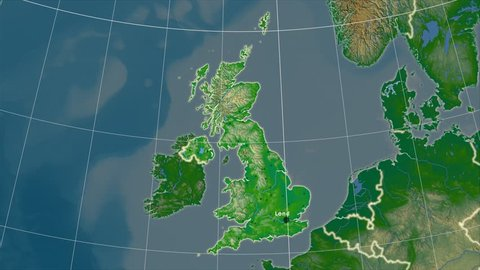 The United Kingdom area map in the Azimuthal Equidistant projection. Layers of main cities, capital, administrative borders and graticule. Colored physical map