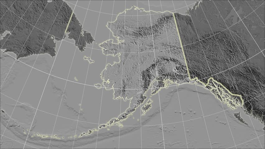 The United States Alaska area map in the Azimuthal Equidistant projection. Layers of main cities, capital, administrative borders and graticule. Elevation & bathymetry - grayscale contrasted