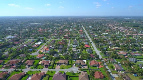 Aerial video residential neighborhood Kendall South Miami Heights FL