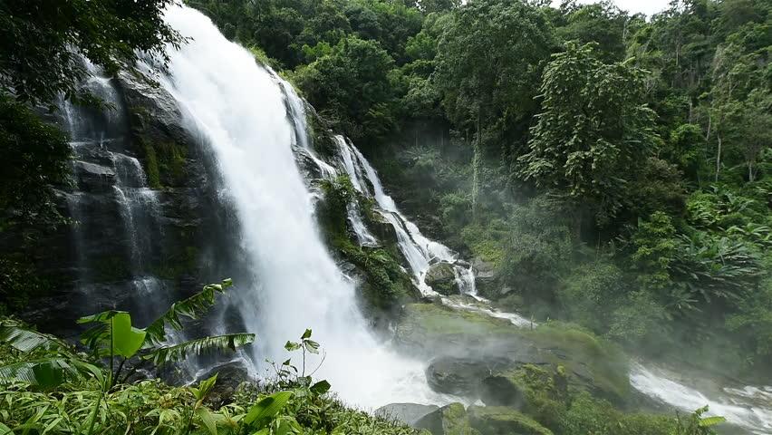 Wachiratarn water fall in Doi Inthanon national park, Chiang Mai, Thailand | Shutterstock HD Video #30960310