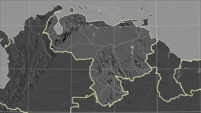 The Venezuela area map in the Azimuthal Equidistant projection. Layers of main cities, capital, administrative borders and graticule. Elevation & bathymetry - grayscale contrasted