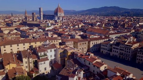 Aerial panoramic view of cityscape in Florence, Italy. Cathedral di Santa Maria del Fiore.