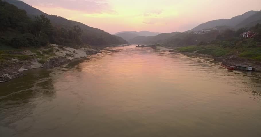 Sunset On The Mekong River At Pak Beng, Laos, Push Through Shot With Camera Tilt