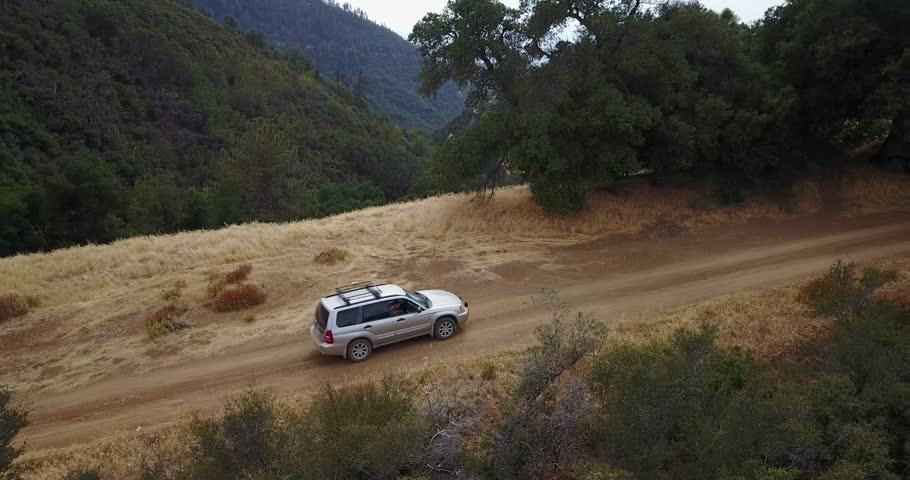 Subaru Forester driving on dirt road at figueroa mountain