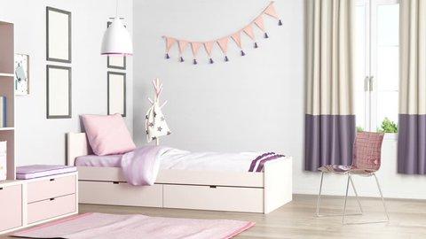 Pink Colored Teen Bedroom