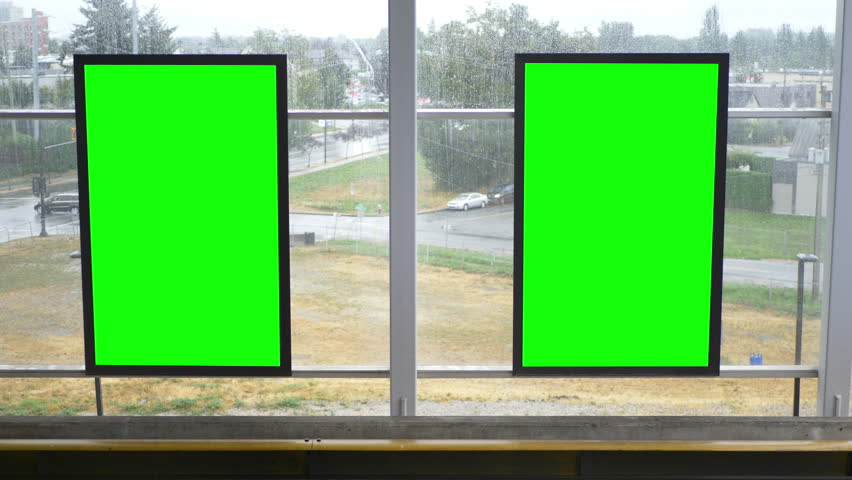animation of opened window with green screen and alpha