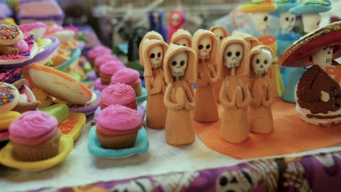Miniature candy, Mexican food, and sugar sweets used as offerings for Day of the Dead in Patzcuaro Mexico