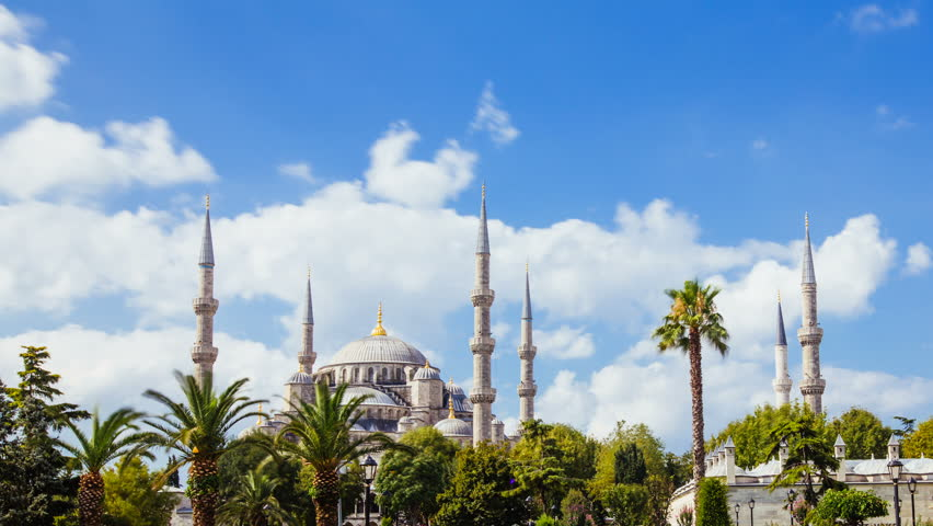 Pan shot timelapse of The Blue Mosque or Sultanahmet outdoors in Istanbul city in Turkey