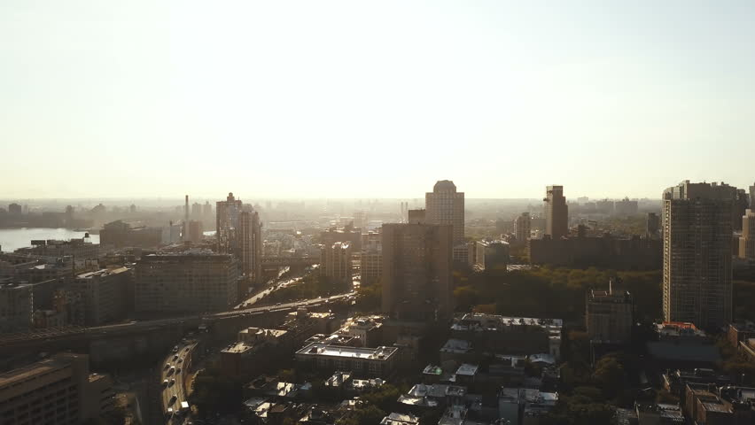 Aerial view of the busy New York, America early in the morning. Drone flying over the traffic roads in Brooklyn on dawn. | Shutterstock HD Video #31039339
