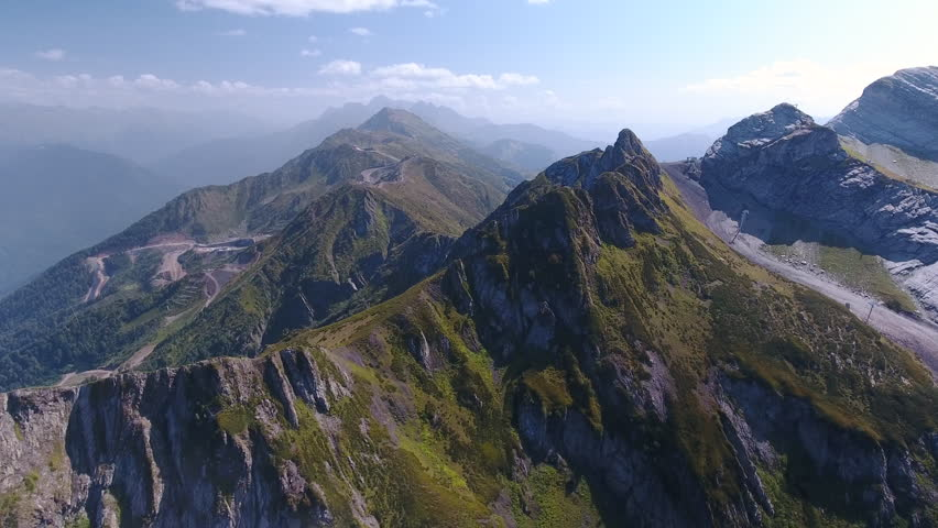 Aerial View. Flying over the mountain Aibga Krasnaya Polyana in Sochi. Aerial drone shot. 4K 30fps ProRes (HQ) | Shutterstock HD Video #31050310