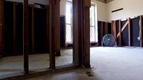 Inside a flooded home gutted and drying out after Hurricane Harvey brought in 4 feet of water