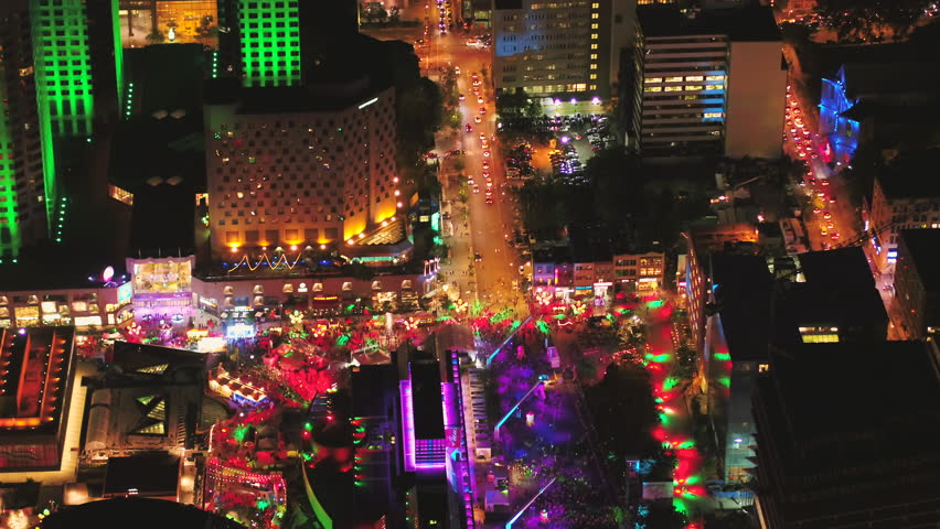 Montreal Quebec Aerial V111 Birdseye View Flying Low Around Summer Festival Downtown At Night