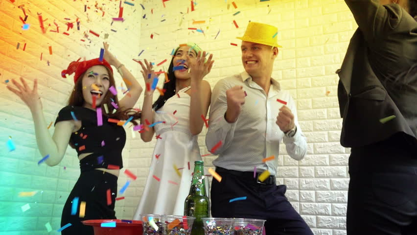 The party celebrates company success. Employees in the company are enjoying the party after a great performance. The party is full of laughter and fun | Shutterstock HD Video #31073320