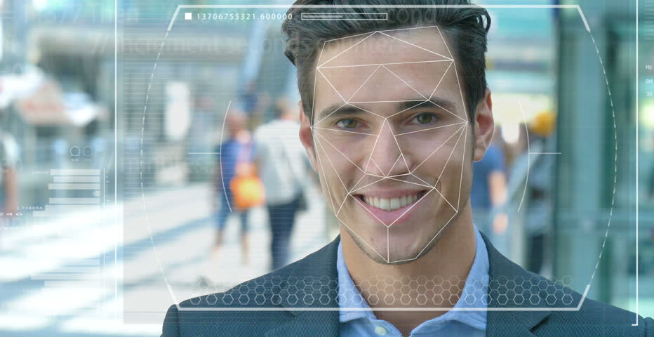 A businessman as bank and telephone bank protection has facial recognition, thanks to increased reality and futuristic technology. Concept of: cyber security, business, technology and future #31095220