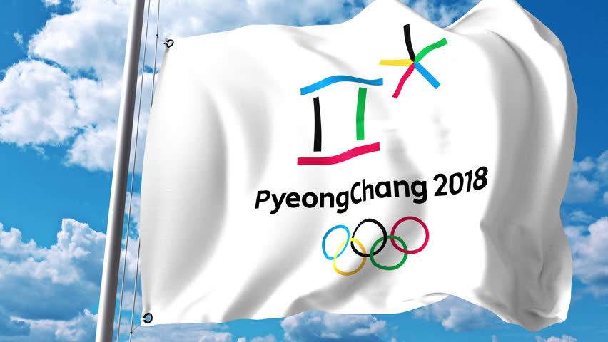 Waving flag with 2018 Winter Olympics logo against clouds and sky. 4K editorial animation