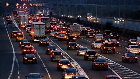 WATFORD, UK - SEPTEMBER 24, 2017 - Evening traffic jam on British motorway M1. M25/M1 junction